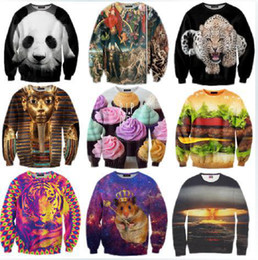 Wholesale New Winter Women Men Space print Galaxy hoodies Sweaters Pullovers panda tiger cat animal D Sweatshirt Tops T Shirt