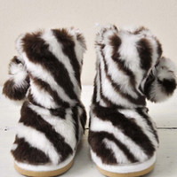 Winter Snow Boots Medium Children's Boot winter Ugg boots Thicker padded zebra double ball Children's Shoes