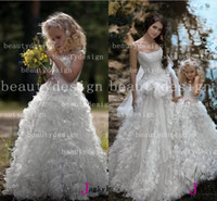 Wholesale 2014 Custom made romantic sequins ruffles flower girls dresses spaghetti straps sleeveless floor length A line wedding girls gowns BO