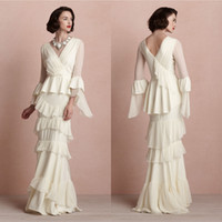 Wholesale DHG Sexy V Neck Tiered With Long Sleeves Backless Ivory Mother of the Bride Pant Groom Dresses Chiffon Long Evening Gowns Formal Dress