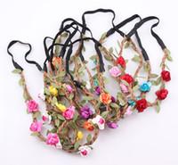 venda por atacado hair accessories for women-Acessórios de cabelo floral do casamento da noiva Bohemian Flor Headband Festival Cabelo Garland Banda Headwear por Mulheres Atacado ZH06