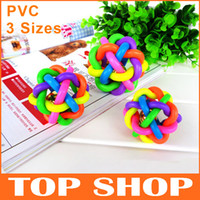 Wholesale 10 Colorful With Bell Weaving Cannabis Ball Cats And Dogs Toys Balls PVC Sizes Pet Toys