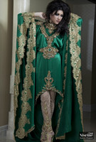 Reference Images V-Neck Elastic Silk like Satin 2014 Prom Dresses New Hot Green Arabic Kaftan Evening Dress Long Sleeves And Gold Applique Lace Chiffon Abaya Dubai Evening Gown