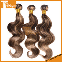 two tone hair extensions - 5A Virgin Brazilian Hair Weave Multi Color Remy Human Hair Extensions Cheap Virgin Hair Products Two Tone Mix Colored Hair