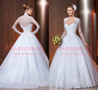 Wholesale 2014 New arrival vestidos de noiva sweetheart with long sleeves jacket bolero lace ball gown bridal dress wedding dress LT42