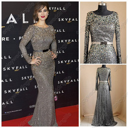 Wholesale Real Image Elie Saab Long Sleeves Evening Dresses Jewel Neckline Grey Sequin Lace Crystal Beaded Sash Formal Celebrity Gowns BO1400