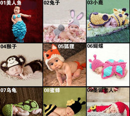 Wholesale Baby photograph Prop Infant Snai Frog Hat Mouse Costume Crochet Knitted Hat Cap Girl Boy Diaper Dogs Mermaid Crochet Cotton Knit Costume Set