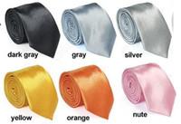 Wholesale New Mens Skinny Solid Color Plain Satin Tie Necktie Men s Ties H