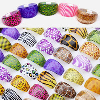 Wholesale 60pc Mix Resin Lucite Leopard Stripe Skin Styles Costume Rings Bulk for Party LR19