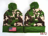 american flag hat military - 2015 American Flag Beanie with pom Camo Black gray caps NEW STYLE American Flag headwear Sport Knit Beanie Pom Pom