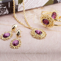 Wholesale 2013African Woman New Design Gold Plated Brown amp Purple Rhinestone Perfume Necklace Costume Fashion Jewelry Set A204