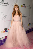 bella quinceanera dresses - Bella Thorne Pink Quinceanera Celebrity Dress Beaded Tulle Strapless Prom Gown th Birthday Party A Line Floor Length