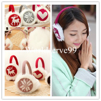Wholesale Fashion Women Girl Snowflake Deer Love Ear Muffs Knit Plush Warm Earmuffs Winter Warmer