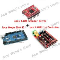 Cheap 1pcs Mega 2560 R3 + 1pcs RAMPS 1.4 Controller + 5pcs A4988 Stepper Driver Module for 3D Printer kit Reprap MendelPrusa