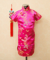 Wholesale Silk fabrics years Children Chinese Traditional baby Clothing Tang suit Cheongsam style girls Dress