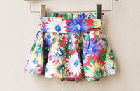 Wholesale Girls BOHO flower shorts skirts baby girl summer lovely floral skirt with ribbon bowknot kids blue red dress in colors