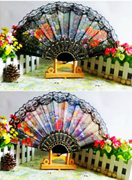 Wholesale Ladys Embroidered Spanish Hand Lace Fan With Sequin Wedding Dancing Party Decor