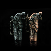 Wholesale Chinese zodiac animal heads straight windproof lighter retro style bronze sculpture dog s first collection