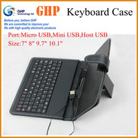 Wholesale 7 quot quot quot quot inch Micro USB Keyboard Leather Cover Case for Android Tablet PC English or russian keyboard for choose