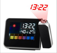 Digital Alarm Clocks  Freeshipping Cheap Digital LCD Screen LED Projector Alarm Clock Mini Desktop Multi-function Weather Station Dropshipping