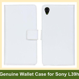 Wholesale New Genuine Leather Wallet Case for Sony Xperia Z1 L39h Folding Flip Cover Case for Sony Xperia Z1 L39h Free Shipping