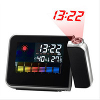 Digital Alarm Clocks  New Digital LCD Screen LED Projector Alarm Clock Weather Station Freeshipping Dropshipping