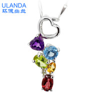 Pendant Necklaces Silver 925 Silver S925 sterling silver jewelry natural Topaz Garnet Amethyst Citrine pendant necklace couple of men and women with platinum plated
