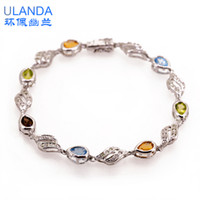 Charm Bracelets Silver 925 Silver S925 silver jewelry sterling silver bracelet natural citrine bracelet Korean couple birthday gifts for men and women with platinum plated