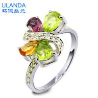 Band Rings Silver 925 Silver S925 sterling silver jewelry natural Citrine Ring exaggerated fashion Korean men and women couple rings Platinum Plated Gifts