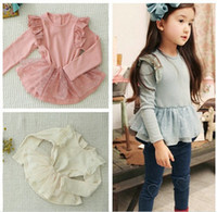 Girl Spring / Autumn Long Kids girls tutu lace shirts baby girl spring autumn long sleeved cotton tops children's jumper in light blue pink white