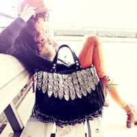 Wholesale 2013 hotsale bolsa fisher price PU leather women shoulder bags channel vintage girl tassel tote duffel handbags