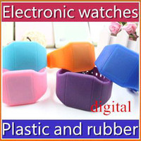 Fashion lovers' Red DHL-400pcs lot plastic rubber ultra-thin touch led sports watch electronic digital jelly candy watches JSB-3