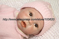 "Unisex Birth-12 months Vinyl Fashion 22"" Reborn baby dolls girls toy silicone vinyl newborn lifelike baby with clothes brown eyes mohair very cute"