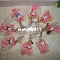 Multicolor Wood Key free shipping The Pink Panther pvc figure cell phone strap mix order (80pcs lot) 1443