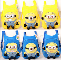 Unisex baby high school - 2013 fashion cute despicable me baby boys girls backpack children pp plush minions toy school bag kids backpacks high quality QZ359
