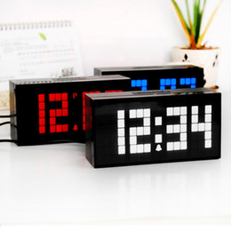 Multifuntional and Fashion 4 Digit Small Number Calendar Thermometer Colorful LED Digital Table Desk Alarm Clock gift old and young people