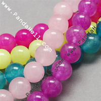 Wholesale Natural Jade Bead Strands Dyed Round Mixed Color mm Hole mm ab Dyed Round Mixed Color mm Hole mm about strand quot