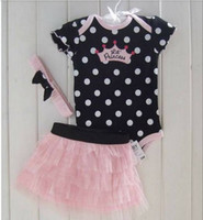 Wholesale NEW Arrivals Hot Sales Baby Girls Summer Piece Set Suits Baby headband Dot Romper Tutu Skirts Princess Sets set RT192