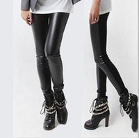 Leggings Skinny,Slim Women Free EMS Women Sexy Ladies Faux Black Leggings Leather Trousers Tights Pants Low Waist Leggings L274