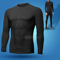 Running Men Full Sport Wear Mens Compression Tight Under Base Layer Top Long Sleeve T-shirt Train