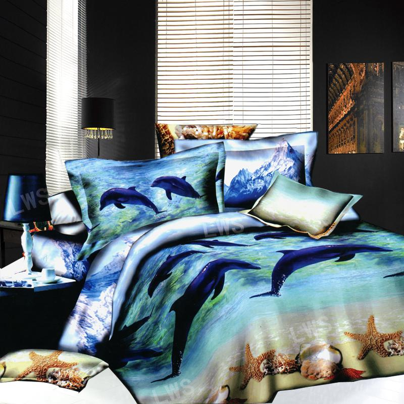3d dolphin starfish seashell bedding bed set oil painting