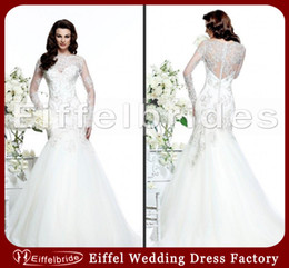 Wholesale 2014 Mermaid Tail Wedding Dress Bridal Gown Sexy Beads Lace Jewel Neckline and Sheer Embroidery Long Sleeves Glamorous Backless Bridal Dress