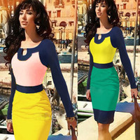 Work Vintage Knee Length 2014 New Fashion Elegant Long Sleeve Autumn Winter Spring Knee-length Patchwork Sheath Stretch Bodycon Party Cocktail Women Pencil Dress