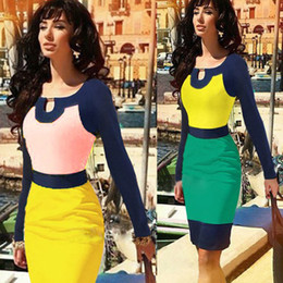 Wholesale 2014 New Fashion Elegant Long Sleeve Autumn Winter Spring Knee length Patchwork Sheath Stretch Bodycon Party Cocktail Women Pencil Dress