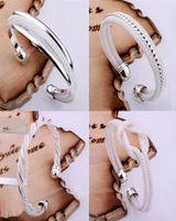 Wholesale Top Sale Silver Fashion Bangle Bracelets Mix Style Shining Bangle Bracelets Women s Hot sale Jewelry Christmas best gift