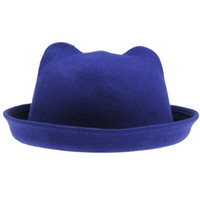 Wholesale Lovely Wool Cat Ear Hats Soft Derby Caps Elegant Royalblue Bowler Hats DEH3