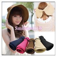 Wholesale Lady Foldable Wide Brim Floppy Bowknot Beach Summer Straw Sun Hat Sunbonnet Cap Colors Fashion