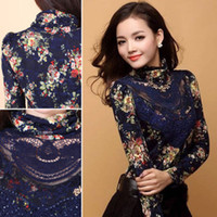 Long Sleeve Lace Casual Fashion Women high Collar Slim Floral Blouse Casual PulloverTops