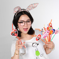 Wholesale Multi color Plastic Drinking Straw Animals Heart Funny Bar Straw Kids Gift Party Gadgets