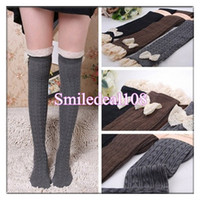 Wholesale Fashion Lady Crochet Bowknot Lace Knit Leg Warmer Boot Socks Knee High Hosiery Winter Cotton Stockings Colors